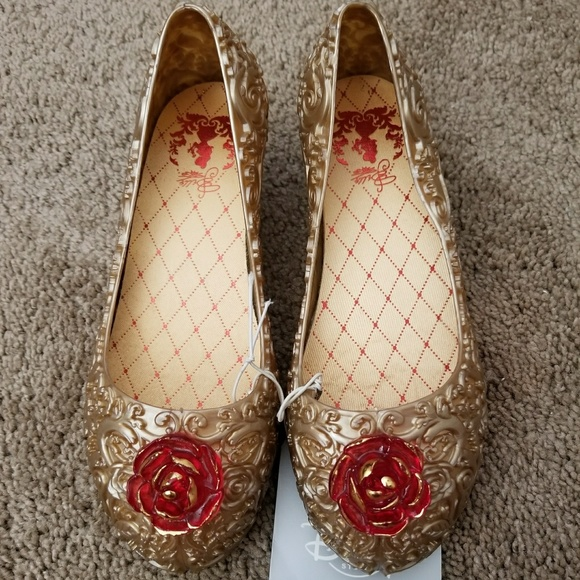 ed3adf9cc326 Disney Store Belle Jelly Shoes with 3d Rose